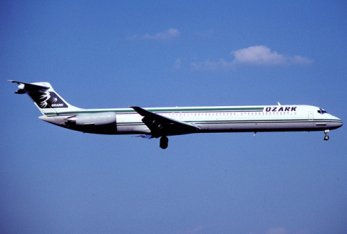 Ozark Airlines MD-82; N950U@DCA, May 1985/ AHU by Aero Icarus on Flickr.Ozark Air Lines was founded in 1950 and had it's headquarters and main hub at Lambert Field in St. Louis, Missouri.