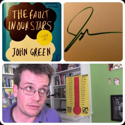 TFioS has arrived, signed as promised by @realjohngreen. I love it when I get something real from YouTube!! (Taken with instagram)