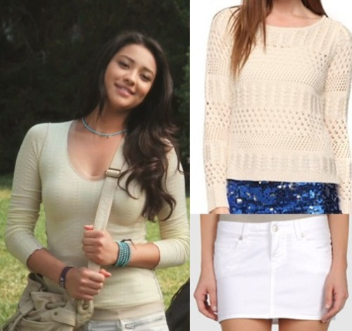 Pair a simple cream light sweater with a white mini skirt to achieve Emily's look from the second episode. Under $20 Skirt:   Paul Frank Mini Skirt - $17.00 Under $50 Top:  Forever 21 Crocheted Sweater - $24.80