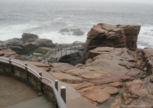 Thunder Hole at Acadia National Park in Maine. This was a great place to be. Being on the walkway gives an up-close view of Thunder Hole, which crashes with sound as it fills up with water.
