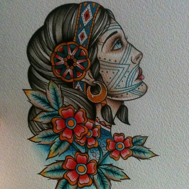 flyingandmagic:  Next flash sheet no filter #tattooflash #girlhead (Taken with instagram)