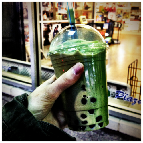 Green tea boba at Assi Plaza food court.
