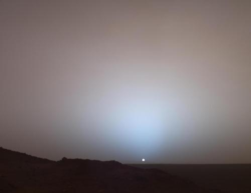 Iconic Martian Sunset  by Mars Exploration Rover Mission, Texas A&M, Cornell, JPL, NASA  An other worldly sunset, around 400,000,000 kilometers away from Earth. In our sibling, the red planet Mars.