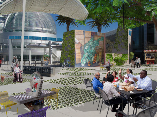 Rendering of my interpretation of an active space @ San Jose City Hall