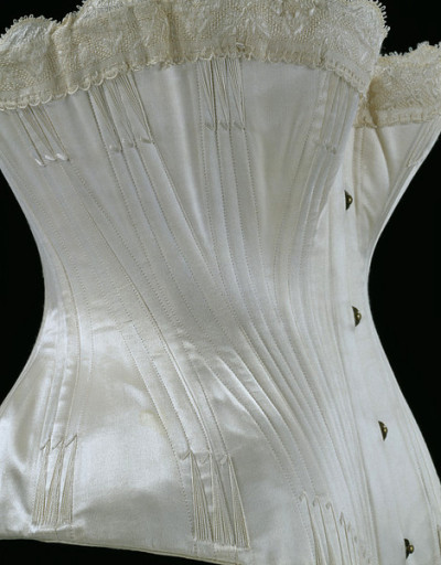 Wedding corset (English), V&A, 1887  Speaking of corsets I'd like to have, when my day comes I'm going to make myself a wedding corset - and presently, this is the one I'll model mine on!
