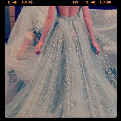eliesaab:  The Haute Couture Spring/Summer 2012 Wedding Dress fitting is approaching! Here's a shot of last collection's fitting to ease anticipation.   I died. elie saab. that is all
