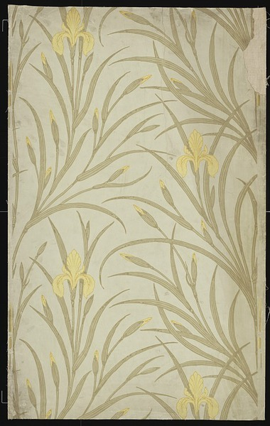 Walter Crane Portion of wallpaper showing only the irises of the 'Iris and  Kingfisher' design (E.4035-1915); Colour print from wood blocks, on  paper.