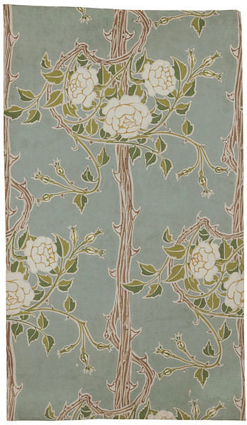 Walter Crane Portion of 'Rose Bush' wallpaper, a design of rose bushes with thorned stems on a dark ground; Colour woodblock print on paper.