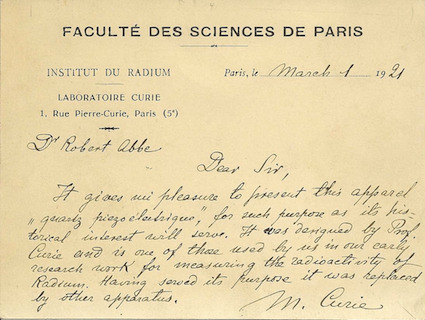 what-a-ride:  Marie Curie's letter to Dr. Abbe describing the piezo-electric apparatus (Source: The College of Physicians of Philadelphia)