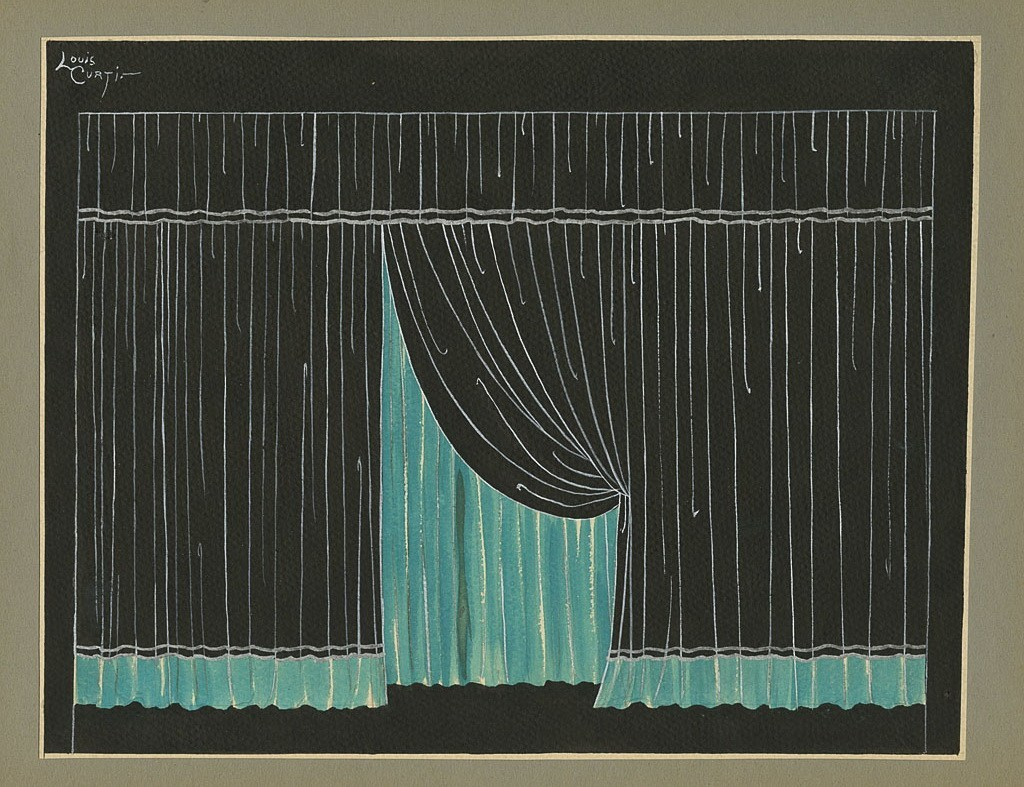 The Folies Bergere Final Curtain This is a beautiful painting of the stage curtain by Louis Curti who was a well-know costumier and set designer for the Follies Bergere. The painting is glued on gray paper.