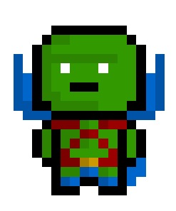 Martian Manhunter aka J'onn J'onzz, extraterrestrial crime fighter and possibly one of the last green martians alive in the DC universe.  Naturally he also has an unhealthy obsession with Oreos. True Story.