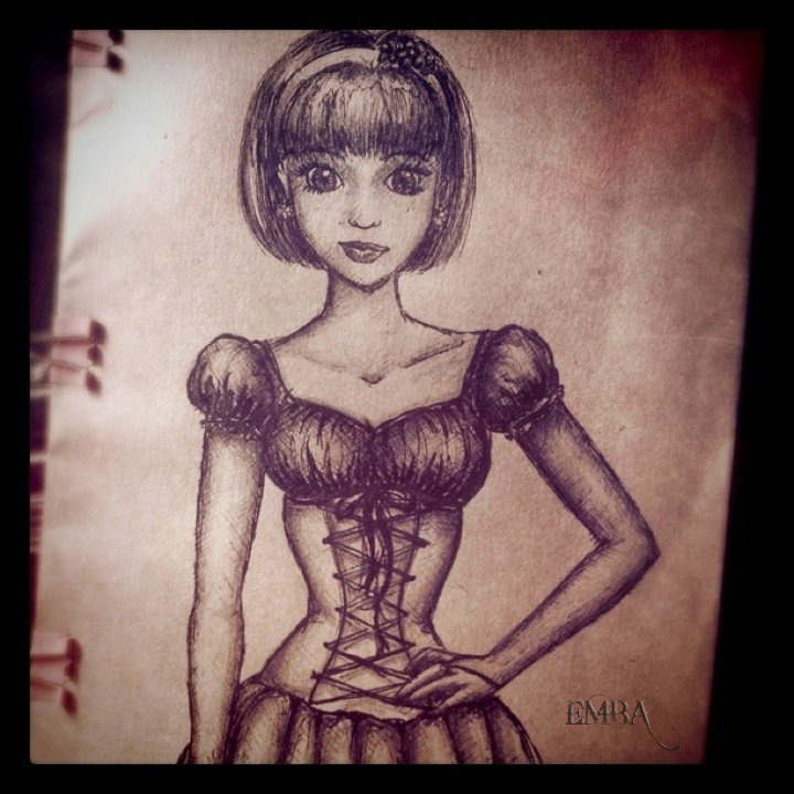 Spontaneous A5 illustration of a girl in a corset dress 0.38 gel pen & 2B pencil June 2011