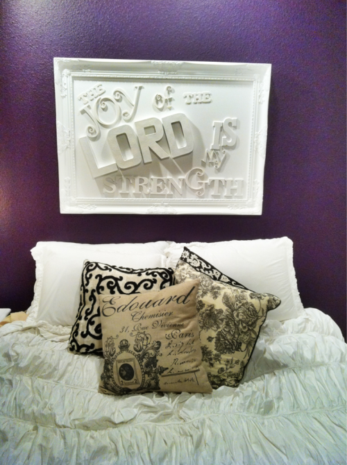 January Photo Challenge Day 11: where you sleep… Dark purple room, anthropologie duvet & fav scripture above