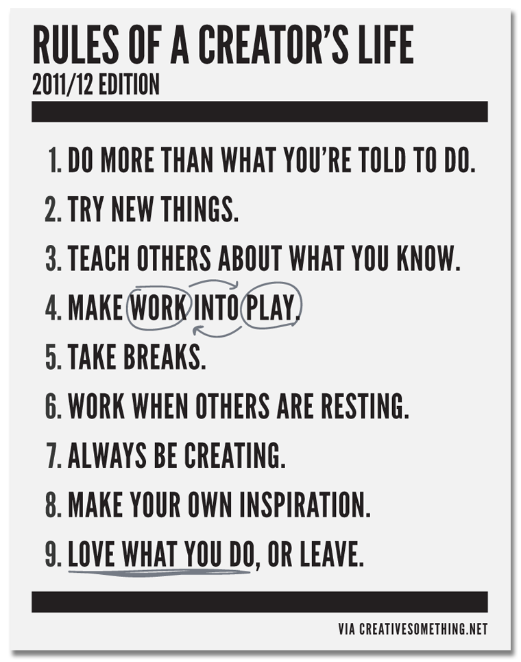 notesondesign:  Rules of a Creator's Life