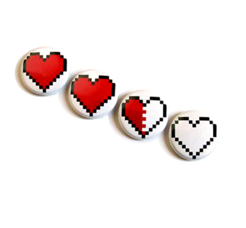 Legend of Zelda 8 bit Pixel Heart Magnets - $6