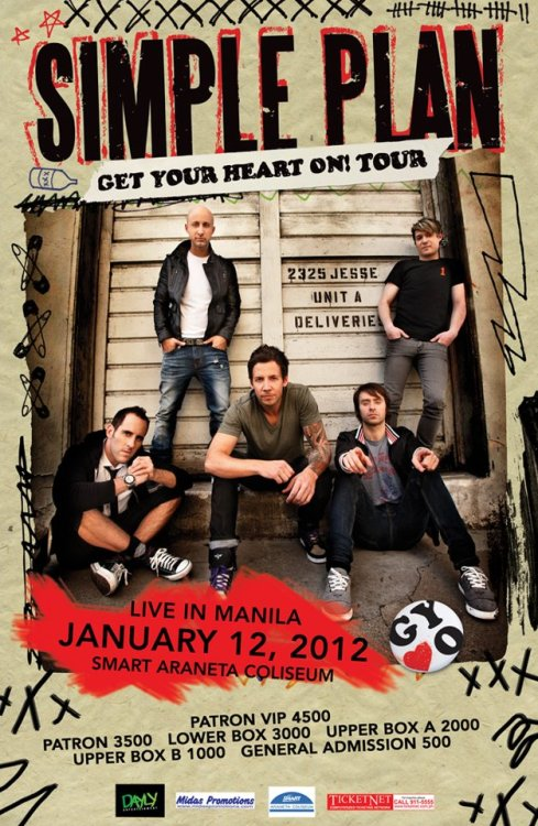 Get Your Heart On Tour: #SimplePlanLiveinManila concert TONIGHT at the SMART Araneta Coliseum(8pm) With special performances by Kamikazee. Call Ticketnet: 911-5555 for more ticket inquiries. This event was brought to us by Dayly Entertainment and Midas Promotions. Another special concert coverage with Manila Concert Scene!