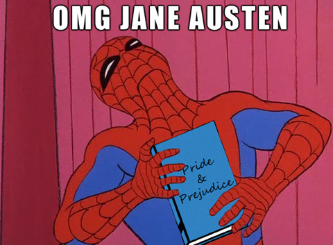 theotherausten:  theotherausten:  gpoy. austen makes my spidey-senses tingle.  can't wait to see the new Spider Man this week! but i must say, i shall be disappointed indeed if andrew garfield doesn't clutch P&P at least once