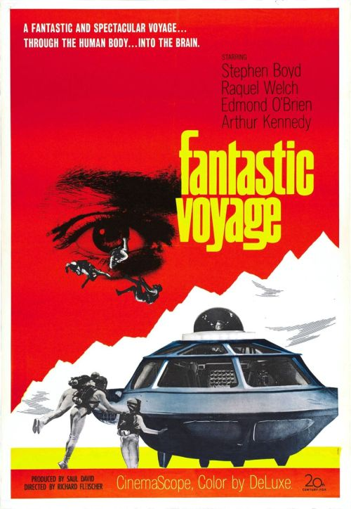 #289/#6 Fantastic Voyage Set during the Cold War both the USA and the Soviets have developed the technology to shrink objects to a miniaturised scale but can only maintain that scale for 1 hour. In order to save a man injured by the Russians with information on prolonging the shrinking process, a team is miniaturised and sent into the man's body in order to destroy his brain clot from the inside. With only an hour to do so, and with a saboteur on board, will they be able to execute their mission in time? I really enjoyed this film. It was a campy 60's fun sci-fi film mixed with elements of a good spy thriller. It was reminding me a little of Sean Connery's bond movies actually, probably helped along by the inclusion of Donald Pleasence in the cast. Not in terms of the spy elements, although the walk through the secret base was a little Q Labs-ish, but more so in just the whole feel of the movie. The time limit, and the fact that the film was shown primarily in real time meant that there was a real need for urgency which pulled the film along and kept you entertained. On top of this some of the set and effects, while very 60's psychedelic, were interesting to watch and cool to see incorporated with the corresponding parts of the body (of which the film was actually surprisingly accurate for the most part). Even now some of them were hard to figure out just how they did them. I'm guessing some form of wire work but it really looks like they are naturally swimming in a lot of the scenes when they go outside the sub. Other than Pleasence none of the rest of the cast is all that memorable (outside of Raquel Welch but that's only for the fact she's the only woman in the movie). They all play their parts well but this is definitely a case of the story being the star of this movie rather than some big name actor/character. There are some plot holes and some weird leaps in logic/science but you've got to just sort of accept that those are going to happen with this sort of film from that era. All in all, a really enjoyable watch and I'd see it again. 4/5