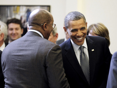 PHOTO OF THE DAY: President Obama smiles as he greets U.S. Trade Representative Ron Kirk during a roundtable meeting on Insourcing American Jobs on Wednesday in the Old Executive Office Building. (PHOTO: Pablo Martinez Monsivais/AP) via nationaljournal