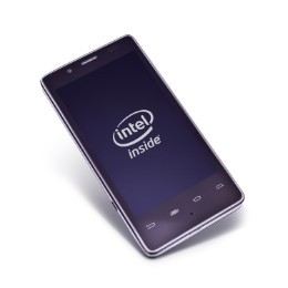 Intel says that the idea behind this smartphone reference design is to speed development time for phone manufacturers that, in turn, can focus on adding additional features and software. The phone features a high-resolution 4.03-inch LCD screen and is running Android Gingerbread OS on the company's Medfield phone platform. A company representative said versions of the phone are also running Ice Cream Sandwich but none were being shown publicly at CES.