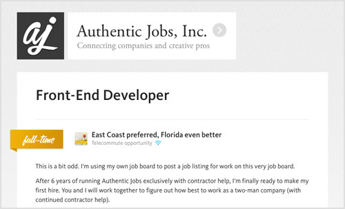 Screenshot of the Authentic Jobs listing for Front-End Developer