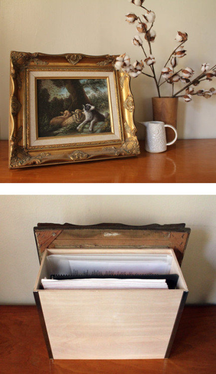 southernsara:  (via diy project: artwork & secret storage box | Design*Sponge)