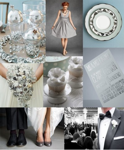 lacedinweddings:  A Silver Inspiration Board for all you Board Lovers! Silver & blue table decorations from Better Homes & Gardens, silver bridesmaid gown from BHLDN, silver table-setting via Martha Stewart Weddings, silver brooch bouquet by Do Bouquets, cupcakes by Cottons & Crumbs, silver wedding invitation from GFSmith, shoes photo by Amy & Stuart via Snippet & Ink, Ballroom photo from Hassas Photography,  tux photo by Lori Paladino via Grey Likes Weddings