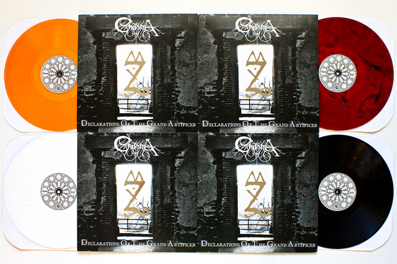 Chasma | Declarations of the Grand Artificer | Mylene Sheath Tour Press: Clear Gold | /100Clear Red w/ Black smoke | /100Retail exclusive: White | /100Black | /200  Check out my post from this morning that has photos and HD video from their show with Thou and The Body in Portland last night.