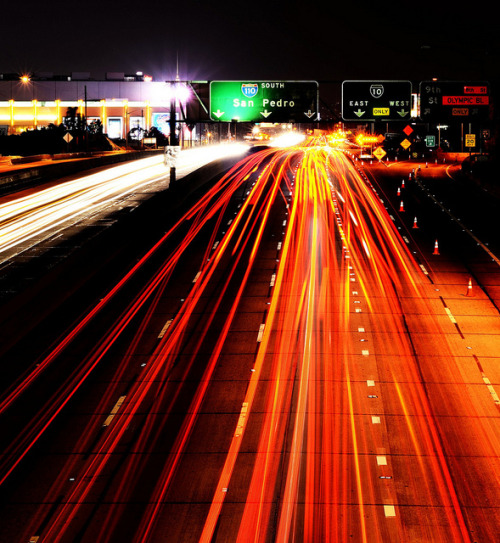 This is LAs' 110 freeway Photographed by  Russell Marquez