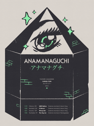 coryschmitz:  Anamanaguchi Canada tour poster (by cory schmitz) Collaboration with Maré Odomo.