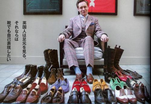 Nick Foulkes and his shoes.  Click thru for A Suitable Wardrobe post.