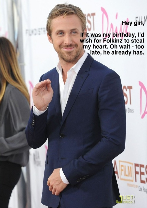 birthdaywishingryangosling:  Hey girl, it's Folkinz birthday.  Steven, I didn't know what to get you so I called in a favor.