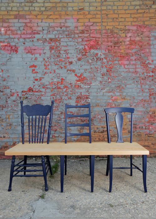 "unconsumption:  A bench made from rescued chairs ""The Greene Ave. collection is a project that rescues these orphan chairs and upcycles them into a one-of-a-kind bench for your entrance way, dining table or backyard patio."" via 31andchange"