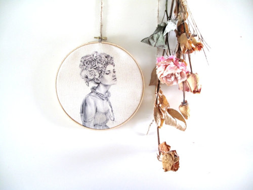 Coriander -Embroidery hoop Art by April Alayne-