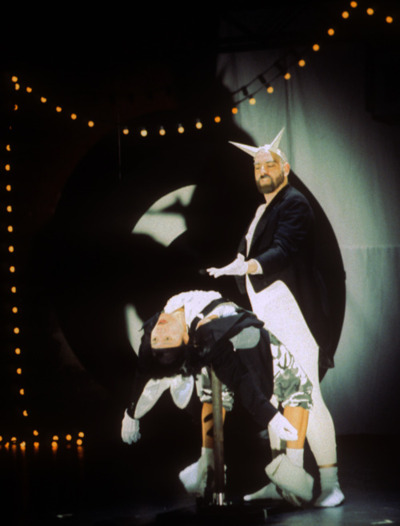 "Production Still from Hare Follies 1997 presented at the Brooklyn Academy of Music  From a commissioned performance.  This is a moment from the middle section, called ""Blood"" which used dialog from a number of sources including ""Blacula"".  I'm performing with Patricia Hoffbauer, and designed the sets and costumes.  In truth this whole piece was a tribute to/rip off of Richard Foreman's plays, and Kathy Acker's novels. The script is a collaged text that attempts to talk about the realities of race and desire by stitching together stuff like ""The Turner Diaries"" and lyrics from Yellowman."