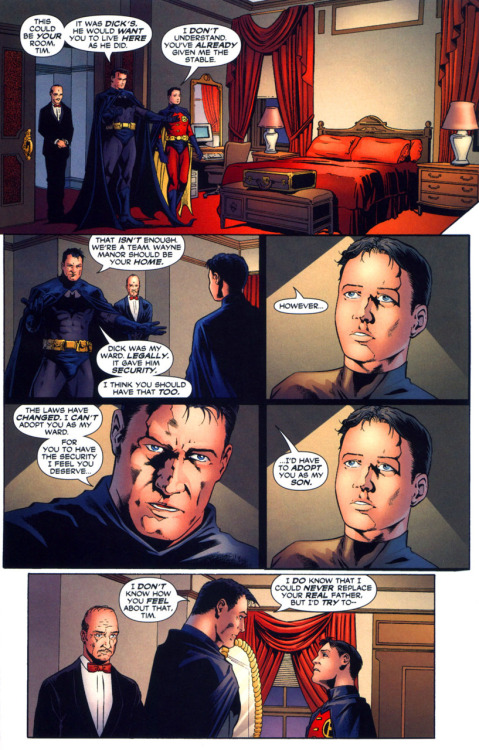 From Batman 654… Bruce struggles to explain… that he wants to adopt Tim. You know Bruce and emotions, they happen but he just doesn't verbalize it well. ;) I'm slightly bothered that Tim is taking over Dick's room. :/  But I'll pretend that Bruce has another room set aside for Dick for when he feels like staying overnight with all his stuff. :)