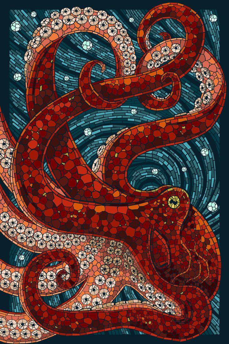 quienesesachica:  Paper Mosaic Octopus by *Chronoperates
