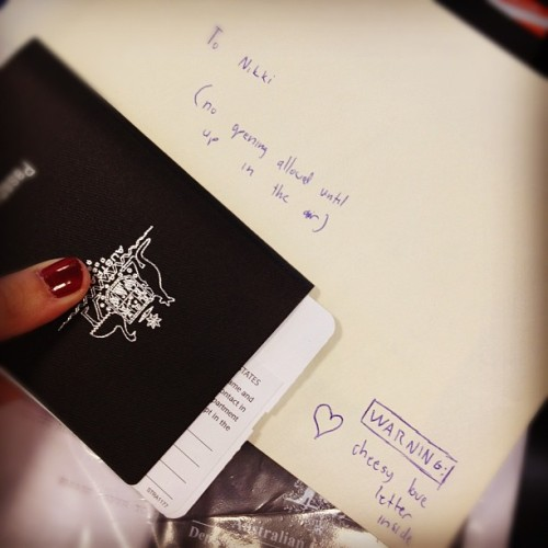 A letter from my darling to read in the clouds. BRB Sydney, see you in half a year… (Taken with instagram)