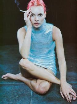 "editorialarchive:   ""Basic Chemical Daywear"". Kate Moss photographed by Peter Lindbergh for Vogue Italia, February 1999"