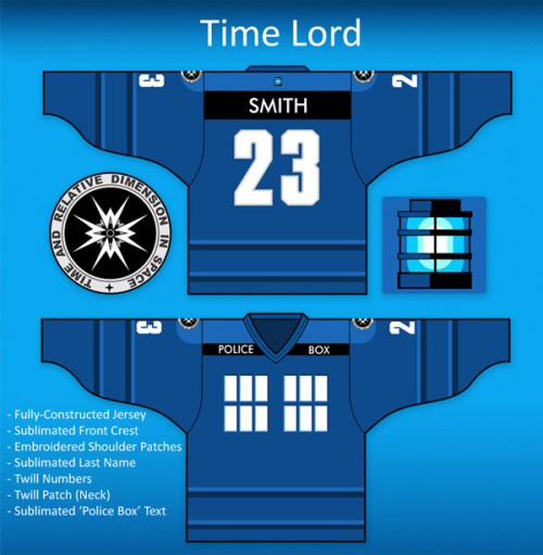 Unofficial but still pretty cool:Doctor Who Hockey Jersey viaTechnabob