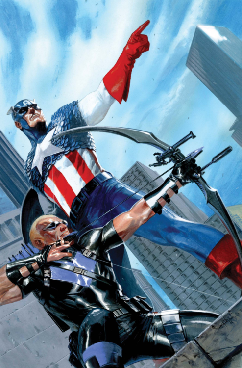 comicartappreciation:  Captain America & Hawkeye #629 // Gabriele Dell'Otto