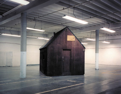 The Unabomber Cabin in a warehouse in Sacramento, CA. The actual cabin is now on display at the Newseum in Washington, DC.