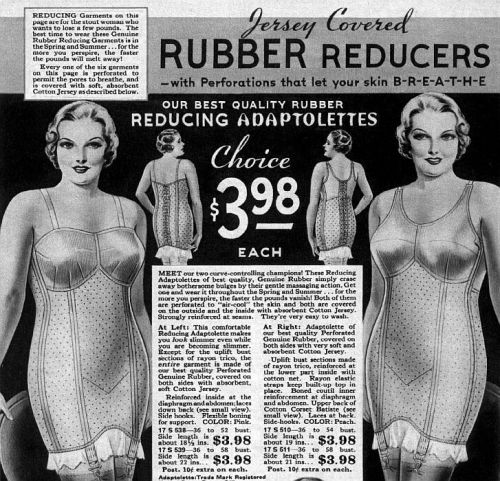 Jersey Covered Rubber Reducers helped women shed pounds in the 1930's……..we've come a long way.