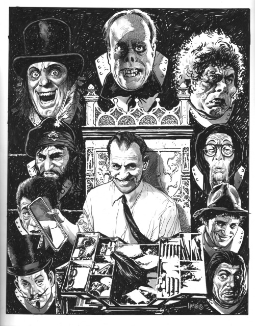 "(via Lon Chaney's Man of a Thousand Faces Trophy Wall by Tony Harris, in Chris Caira's ""Trophy Wall"" Themed Commissions 4 Comic Art Gallery Room)"
