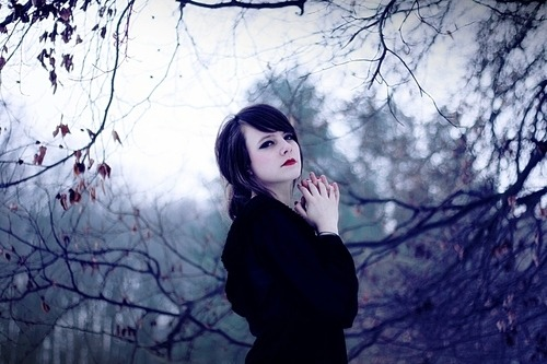 (via amazing, beautiful, brunette, cold, forest, girl - inspiring picture on Favim.com)
