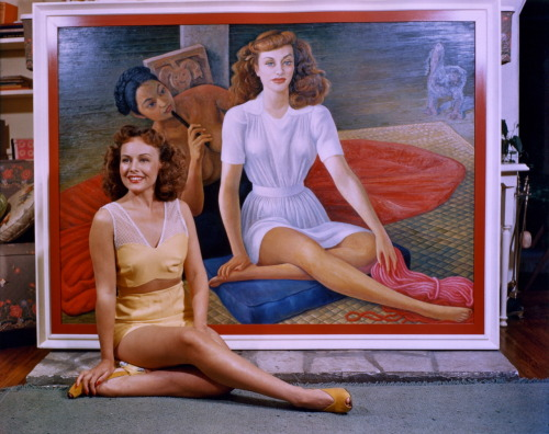 lynxolita:  Paulette Goddard and her portrait, completed in 1941 by Diego Rivera.