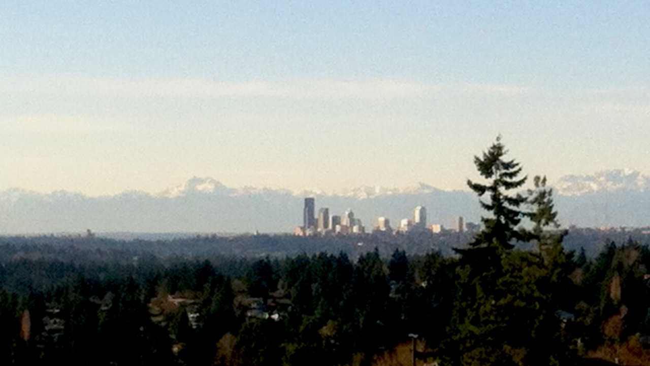 Seattle is showing off again today, across the lake.