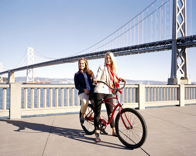 girls on bikes by terry.b on Flickr.
