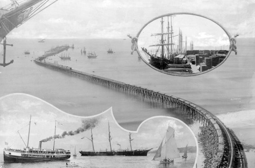 "Between 1893 and 1920, a 4,600-foot long wharf extended into Santa Monica Bay at Port Los Angeles. Read L.A. as Subject's latest KCET contribution, ""How Santa Monica Almost Became a Commercial Harbor,"" to learn more."
