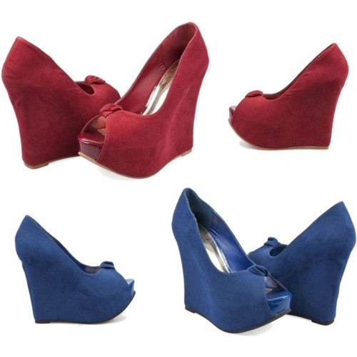 Suede Peep-Toe Wedges by meinto on polyvore.com I am so excited about these beautiful wedges we just got in @  Meinto.com! I love suede and I love wedges, and these are just the  perfect mix. The bold colors bring the perfect pop of color into any  outfit. Get them here: Blue or Red